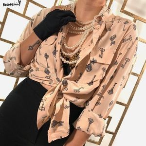 Equipment Femme Skeleton Key Silk Blouse